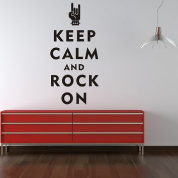 """Keep Calm and Rock On"" Wall Decal"