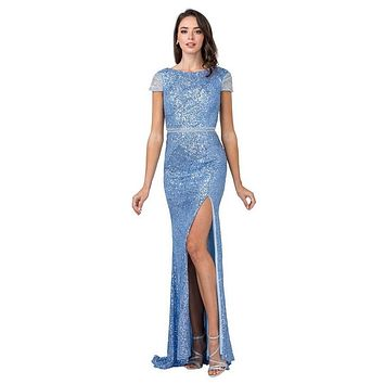 Ice Blue Long Prom Dress with Beaded Cap Sleeves