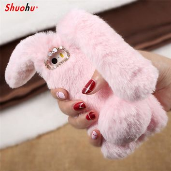 Shuohu Cute Soft Silicone Rabbit Fur Phone Cases for Iphone 7 6 6S 8 Plus Case Glitter Silicon Cover for Iphone X 5 5S SE Case