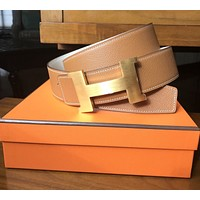 AUTHENTIC HERMES NEW REVERSIBLE 42mm BELT KIT GOLD/ CRAIE 100CM GOLD H