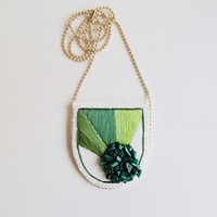Hand embroidered necklace with geometric greens and malachite gems cream muslin matte gold tone ball chain Fall fashion An Astrid Endeavor