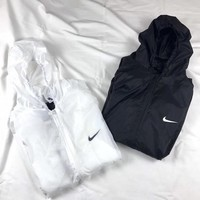 """Nike"" Solid Color Sport Ultra Thin Long Sleeve Zip Cardigan Hooded Skin Windbreaker Coat Women Sun Protection Clothing"