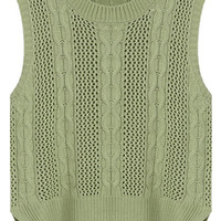 Green Sleeveless Knit Tee