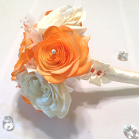Alternative bouquet using handmade paper Roses in orange and ivory, Flower girl bouquet, Satin ribbon and paper flower bridesmaid bouquet