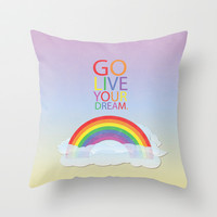 go, live your dream.. inspirational tangled quote... repunzel, flynn Throw Pillow by studiomarshallarts