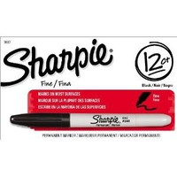 Sharpie Permanent Markers, Fine Point, Black, 12-Pack (30001)