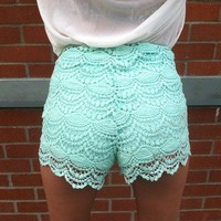 High Waisted Crochet Shorts (Teal) from Affaire d'Amour