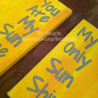 You are my sunshine. My only sunshine. 12 x 12 inch canvas. 2 in set. Yellow. Sunshine. Quote Canvas.