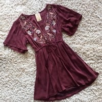 Embroidered Bodice Dress in Plum