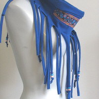 Fringe Jersey Infinity Scarf with beads and floral trim, tshirt scarf, bohemian, cobalt blue