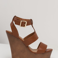 Strap-piness Faux Leather Wedges