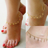 Summer Beach Style Gold Leaf Anklet