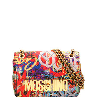 Graffiti-Print Quilted Shoulder Bag, Multicolor - Moschino