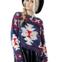 Southwestern Fuzzy Sweater - Last One