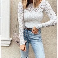 Fashion  autumn women's new word lace sexy long-sleeved sling