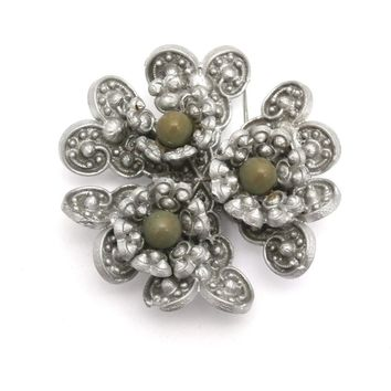 Vintage Celluloid Brooch Gray w/ Green Centers 1930s
