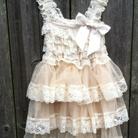 Rustic Flower Girl Dress -Lace Pettidress/Rustic Flower Girl/Country Flower Girl Dress Cream/Wheat Cream/Country Wedding-Vintage Weddin