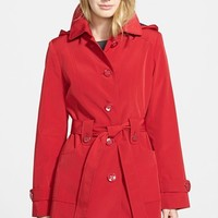 Women's Gallery Polka Dot Trim Single Breasted Trench Coat,
