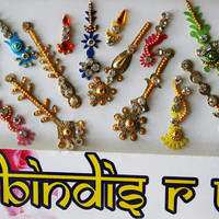 Sale Packs- 22 Bindis Multicolor/Silver Gold Red Maroon face jewels Bindi Jewelry forehead tikka Gems Bellydance.