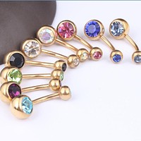 Hot 1 Pc Unisex Charm Golden Crystal Rhinestone Navel Belly Button Ring Body Piercing Jewelry 9 Colors