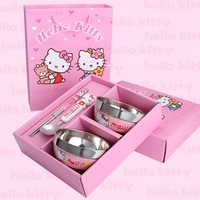 Cartoon Children's Dinnerware Double Bowl Kit Hello Kitty Kitchen Cooking Tools Metal Tableware Children's Day Gift