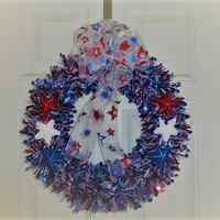 Patriotic Fourth of July Wreath red, white, and blue, Memorial Day, Stars