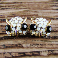 Women's Teen's Owl Stud Earrings Animal Theme Silver Plated Cool White Ivory Color Crystal Nickel Free