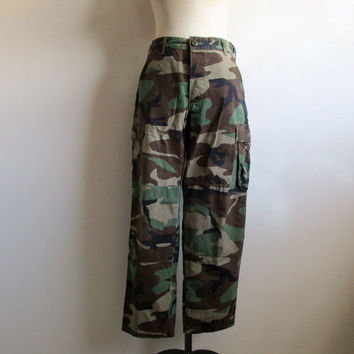 Vintage 1980s Military Pants Green Camouflage Cotton Combat Trouser 27W
