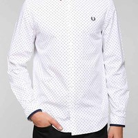 Fred Perry Knit-Collar Polka Dot Button-Down Shirt- White