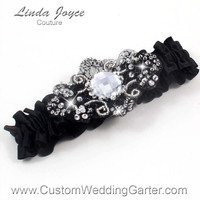 Elegant Black Vintage Wedding Garter Bridal Jewel 123 Black Silver Hand Beaded Luxury Couture Prom Garter Plus Size & Queen Size Available