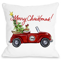 """""""Red Bug Christmas"""" Indoor Throw Pillow by Timree Gold, 16""""x16"""""""