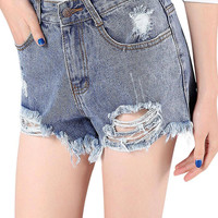 Deep Blue High-rise Fringe Denim Shorts