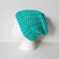 Jade Green Lacy Slouch Beanie Hat, ready to ship.