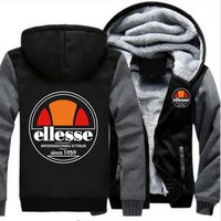 2018 New Fashion Brand Men/Women Ellesse Zipper Hooded Casual Sweatshirt Winter Thickened Warm Hoody Hip Hop plus size M-6XL