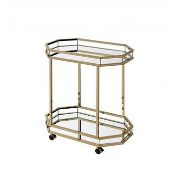 "27'.6"" X 16'.6"" X 31'.5"" Mirror And Champagne Serving Cart"