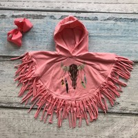 Girls Tassled Cloak  Poncho with  matching bow