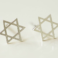 Hexangular Star Silver Earring, Handmade Six-Pointed Star Silver Ear Studs/Earrings, Teenage, Valentine, Bridemaid, Bridal, Wedding