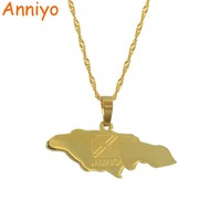 Anniyo Jamaica Map Pendant Necklaces Jewellery Gold Color Jewelry Jamaican #002021