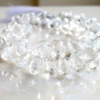 Topaz Briolette Clear White Gemstone Faceted 3 D TearDrop Top Drilled 10mm Set of 4 Beads