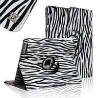 FINTIE (Black) Zebra Pattern 360 Degrees Rotating Stand Smart Cover PU Leather Case for iPad 4th Generation With Retina Display, the new iPad 3 & iPad 2 (wake/sleep)