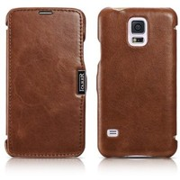 Moon Monkey Classical Luxury Retro Built-in Card Slot Design Flip Cover Genuine Leather Case for Samsung Galaxy S5 (Brown)