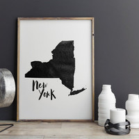 """PRINTABLE art""""NEW YORK""""State Wall Decor,Typographyc Art,City Print,Watercolor Poster,Map Print,Travel Poster,Instant Download,Home Decor"""