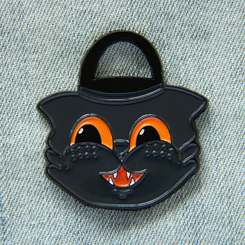 Vintage Halloween Black Cat Bucket Enamel Pin