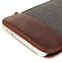 GMYLE Dark Grey & Brown Soft Felt Sleeve Bag Case Cover for MacBook Pro Pro 15 inch (Model: A1286)[2011-2012 Release] and MacBook 15 inch with Retina Display (Model: A1398)[2012-2015 Release]