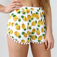 Pineapple Elastic Waist Shorts