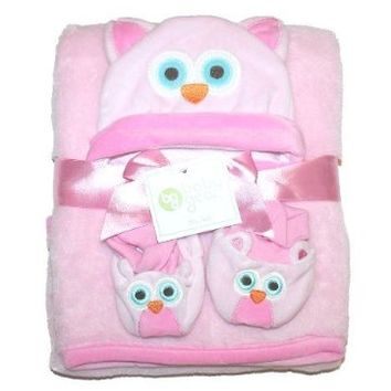 Baby Gear Baby Girl's Owl Blanket, Hat, and Booties Set [Baby Product]