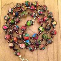 Mosaic Jasper, Brown and Gold Beaded Necklace