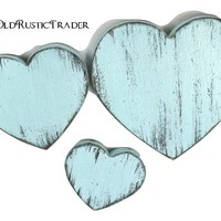 Rustic wedding 3 hearts home decor 7 1/4,5,3 1/2 inch hearts wall decor wooden wall heart valentines decor wall hanging painted Baby Blue