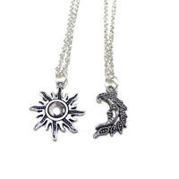 Sun and Moon Necklaces,  Silver Moon and Sun Jewellery, Couples Necklaces, Friendship Necklaces, Crescent Moon, Sun Necklace, Unisex Jewelry