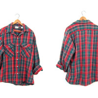 Oversized THICK Cotton Flannel Shirt Red Green Yellow Plaid 90s Grunge Shirt Button Up Vintage Work Shirt Distressed Hunting Shirt Men Large